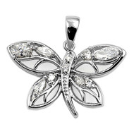Butterfly Cubic Zirconia Pendant Sterling Silver  16MM