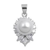 Designer Simulated Pearl Cubic Zirconia Pendant Sterling Silver  22MM