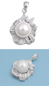 Designer Simulated Pearl Cubic Zirconia Pendant Sterling Silver  25MM