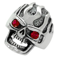 Ultra Deathflame Skull Ring Sterling Silver 925 Simulated Ruby Red Cubic Zirconia Eyes