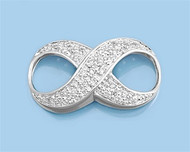 Infinity Cubic Zirconia Pendant Sterling Silver  30MM