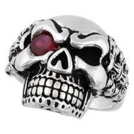 Bad Bones Skull Sterling Silver 925 Simulated Garnet Red Cubic Zirconia Eye