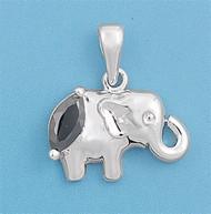 Elephant Cubic Zirconia Pendant Sterling Silver  12MM