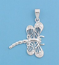 Dragonfly Cubic Zirconia Pendant Sterling Silver  24MM