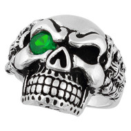 Bad Bones Skull Sterling Silver 925 Green Cubic Zirconia Eye