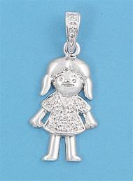 Little Girl Cubic Zirconia Pendant Sterling Silver  20MM