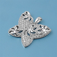 Butterfly Cubic Zirconia Pendant Sterling Silver  28MM