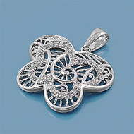 Butterfly Filigree Cubic Zirconia Pendant Sterling Silver  35MM