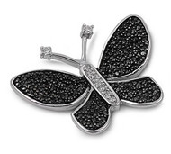 Black Butterfly Cubic Zirconia Pendant Sterling Silver  32MM