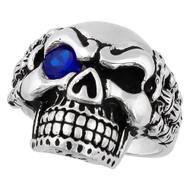 Bad Bones Skull Sterling Silver 925 Simulated Sapphire Blue Cubic Zirconia Eye