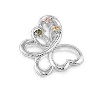 Butterfly Multicolor Cubic Zirconia Pendant Sterling Silver  24MM