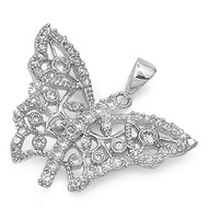 Butterfly Cubic Zirconia Pendant Sterling Silver  20MM