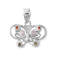 Butterfly Multicolored Cubic Zirconia Pendant Sterling Silver  11MM