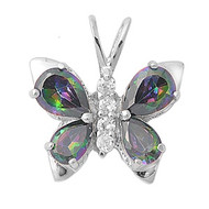 Butterfly Mystic Simulated Topaz Cubic Zirconia Pendant Sterling Silver  19MM