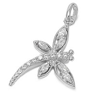 Dragonfly Cubic Zirconia Pendant Sterling Silver  20MM