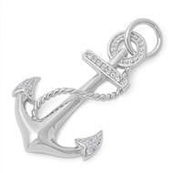 Anchor Cubic Zirconia Pendant Sterling Silver  32MM