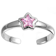 Star Knuckle/Toe Ring Pink Cubic Zirconia Sterling Silver  5MM