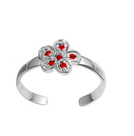 Flower Knuckle/Toe Ring Simulated Ruby Cubic Zirconia Sterling Silver  7MM