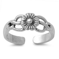 Flower Filigree Knuckle/Toe Ring Sterling Silver  3MM
