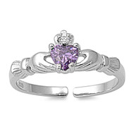 Benediction of Claddagh Heart Knuckle/Toe Ring Simulated Amethyst Cubic Zirconia Sterling Silver  7MM
