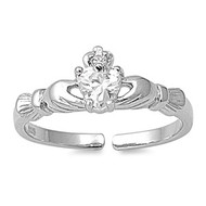 Benediction of Claddagh Heart Knuckle/Toe Ring Clear Cubic Zirconia Sterling Silver  7MM