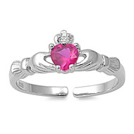 Benediction of Claddagh Heart Knuckle/Toe Ring Simulated Ruby Cubic Zirconia Sterling Silver  7MM