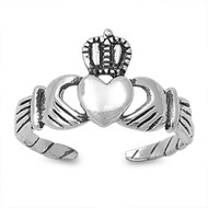 Claddagh Heart Knuckle/Toe Ring Sterling Silver  9MM