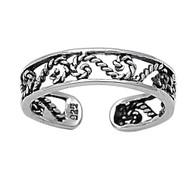 Half Infinity Symbol Filigree Knuckle/Toe Ring Sterling Silver  4MM