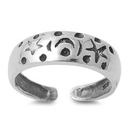 Moon & Stars Knuckle/Toe Ring Sterling Silver  5MM