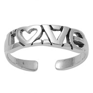 Love Word Heart Knuckle/Toe Ring Sterling Silver  5MM