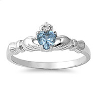 Benediction of the Claddagh Simulated Aquamarine Cubic Zirconia Ring Sterling Silver 925