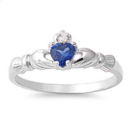 Benediction of the Claddagh Simulated Sapphire Cubic Zirconia Ring Sterling Silver 925
