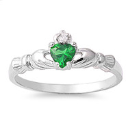 Benediction of the Claddagh Simulated Emerald Cubic Zirconia Ring Sterling Silver 925