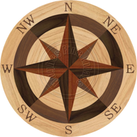 Sea Compass North Full (Red Oak) 36""