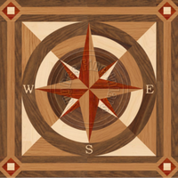 Sea Compass North  Square with Border 48