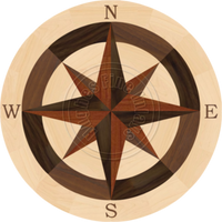 Sea Compass North with N (Maple) 24""
