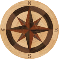 Sea Compass North with N (Red Oak) 24""