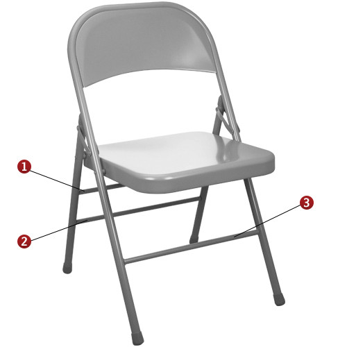 Beau Gray Metal Folding Chairs [EDPI903M GREY]