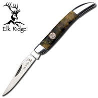 "•FOLDERS •2.5"" BLADE, STAINLESS STEEL •SATIN BLADE •3.5"" CLOSED •CAMO HANDLE WITH ELK MEDALLION AND MIRROR BOLSTER"