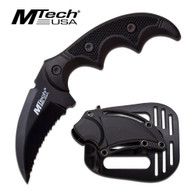 "•BLACK HAWK BILL FIXED BLADE •5"" OVERALL •2"" 3MM THICK BLADE, STAINLESS STEEL •BLACK FULL SERRATED BLADE •MATTE ALUMINUM HANDLE WITH G10 TEXTURE BLACK HANDLE •INCLUDES TACTICAL PADDLE HOLSTER SHEATH"