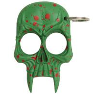 Skull Keychain Green with Red Splash