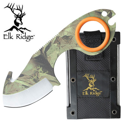 """Elk Ridge Skinner 5.4 """" Overall  •440 STAINLESS STEEL •CAMO COATED GUT HOOK BLADE •COMFORT GRIP SILICONE RING •INCLUDES MOLDED CASE WITH FIRE STARTER AND HONING FILE"""