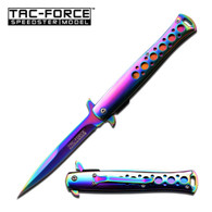 "Spring Assisted Stiletto Knife •4.2"" 3MM THICK BLADE, STAINLESS STEEL •RAINBOW TITANIUM COATED BLADE •5"" CLOSED •RAINBOW TITANIUM COATED STAINLESS STEEL HANDLE •INCLUDES POCKET CLIP"
