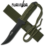 "SURVIVOR OUTDOOR FIXED BLADE KNIFE 7.5"" OVERALL  Fixed Blade Knife •7.5"" OVERALL •3.5"" 3MM THICK BLADE, STAINLESS STEEL •BLACK REVERSE SERRATED BLADE •FULL TANG MILITARY GREEN CORD WRAPPED HANDLE WITH LANYARD •INCLUDES MILITARY GREEN NYLON SHEATH"
