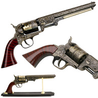 "DECORATIVE WESTERN REVOLVER DISPLAY 13"" OVERALL •13"" OVERALL •STEEL CONSTRUCTION PISTOL DESIGN BARREL •WESTERN STYLE NAVY REVOLVER WITH STAND •ORNATE ENGRAVINGS ON BODY •INCLUDES STAND"