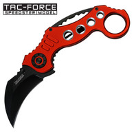 "Spring Assisted Red karambit folding Knife •2.5"" 3MM THICK BLADE, STAINLESS STEEL •BLACK CURVED BLADE •5.25"" CLOSED •KARAMBIT STYLE RED ALUMINUM HANDLE •INCLUDES POCKET CLIP"
