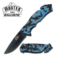 "Digital Blue Camo Spring Assisted Knife 3.5"" 3MM THICK BLADE, STAINLESS STEEL •BLACK BLADE •4.5"" CLOSED •DIGITAL NAVY BLUE CAMO NYLON FIBER HANDLE •INCLUDES POCKET CLIP, SEAT BELT CUTTER & GLASS BREAKER"