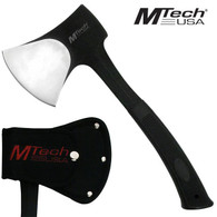 "Mtech Axe •11"" OVERALL •STAINLESS STEEL BLADE •SATIN BLADE •RUBBER GRIP HANDLE •INCLUDES NYLON SHEATH"