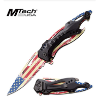 "AMERICAN FLAG SPRING ASSISTED KNIFE 3.5"" 3CR13 STEEL BLADE MBOSSED PRINTED AMERICAN FLAG ON BLADE 4.75"" ANODIZED ALUMINUM HANDLE INCLUDES POCKET CLIP"