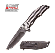 """Stonewashed American Flag Spring Assisted Knife 3.75"""" 3MM THICK BLADE, STAINLESS STEEL EAGLE ART FRONT SIDE ONLY ACID ETCHING ON STONEWASH BLADE 5"""" CLOSED BRUSH/STONEWASH 2 TONE FINISH US FLAG STAINLESS STEEL HANDLE INCLUDES STONEWASH FINISHED POCKET CLIP AND FRAME LOCK"""